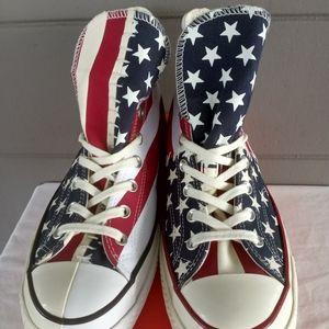 New! Sz 10.5 Mens Converse American Flag Patriotic